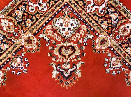wool rugs: detail of colorful persian rug Stock Photo