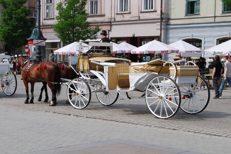 CRACOW - JUNE 8: Horse-drawn buggies trot around Krakow from the Main Market Square on June 8, 2010 in Cracow. Poland Editorial