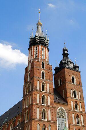 cracovia: The tower of Mariacki Church in Cracow, Poland