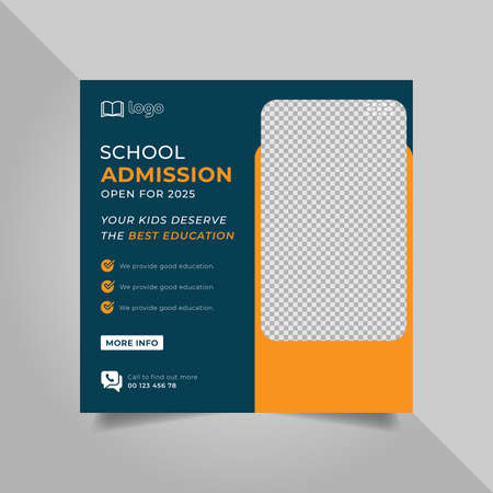 School admission social media post template Vector Illustration