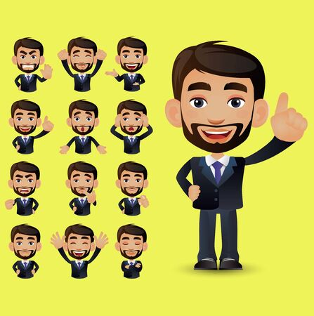 Set of businessman with different emotions