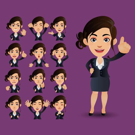 Set of businesswoman with different emotions Illustration