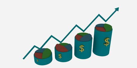 3d Business growth bar and pie chart Stock Photo - 26292395