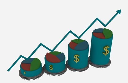 3d Business growth bar and pie chart with driven gears photo