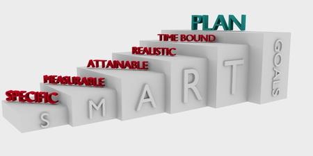 achievable: 3D model illustrating Smart goals setting concept
