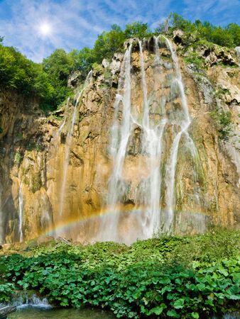 plitvice: Waterfall with rainbow in national park Plitvice, Croatia Stock Photo