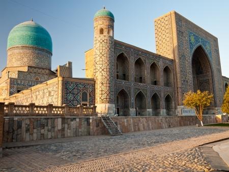 samarkand: Tillya-kori temple at sunset in Registan complex, Samarkand, Uzbekistan Stock Photo