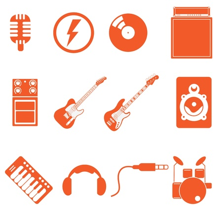 band play icon music with nice orange color style