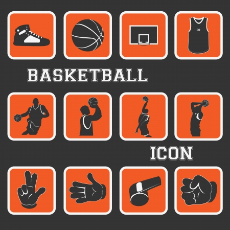 basketball nice icon and pictogram complete collection set Stock Vector - 17786785