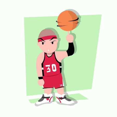 funny little kids play basketball Stock Vector - 17786780