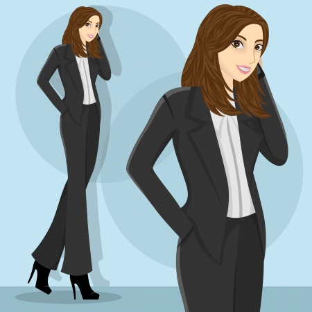 Young and pretty career woman wearing purple blous Illustration