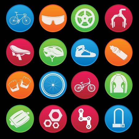 fietsstuur: Bicycle Icon Set Gradient Stijl