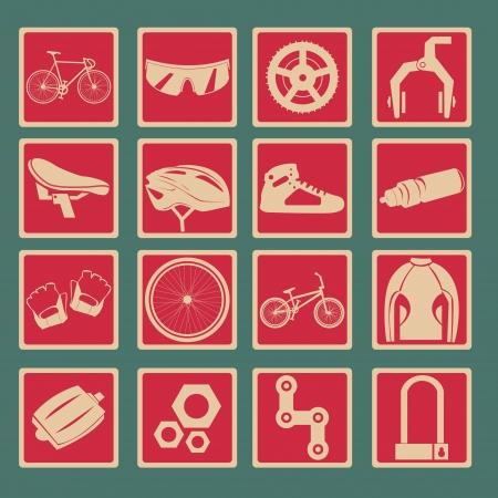calzado de seguridad: Bicycle Icon Set Style Basic Vectores