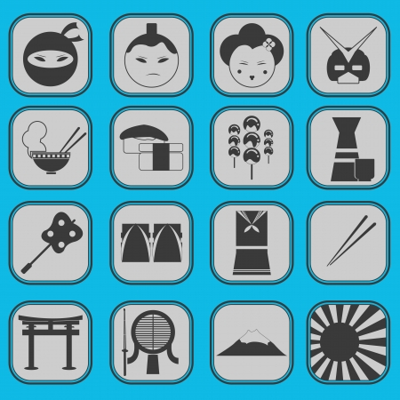 Japanese Icon Set Basic Style Vector