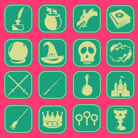 Magic Wizard Icon Set Basic Style Stock Vector - 18069973