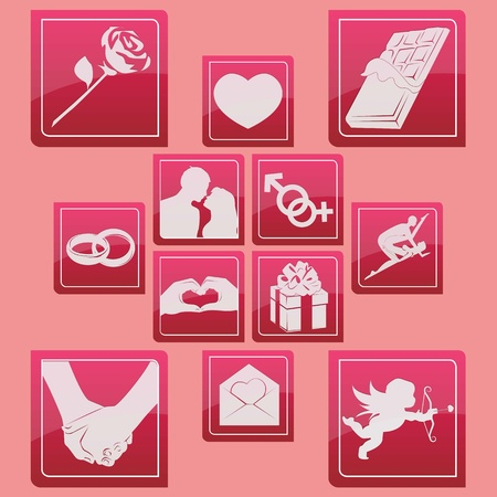 love and valentine icon set glossy style Stock Vector - 18069979