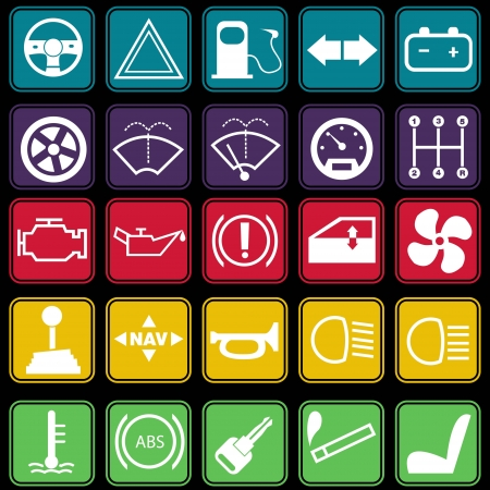 Car Dashboard Icon Set Basic Style