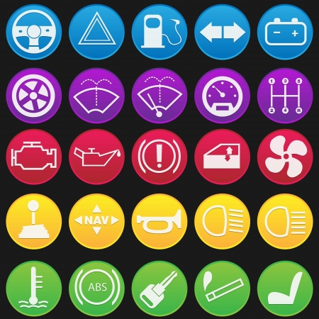 Car Dashboard Icon Set Gradient Style Stock Vector - 18400885