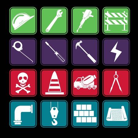 warning saw: Construction Icon Set Basic Style