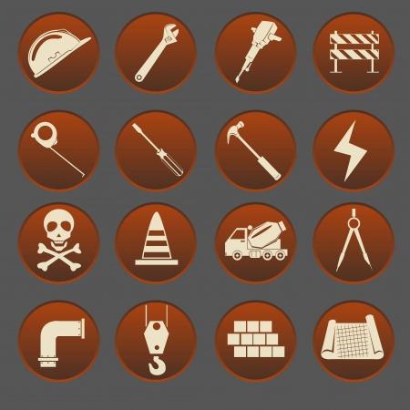 warning saw: Construction Icon Set Gradient Style Illustration
