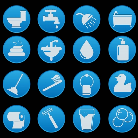 toilet bathroom icon set Stock Vector - 18879707