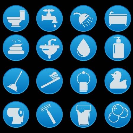 toilet bathroom icon set Stock Vector - 18879707
