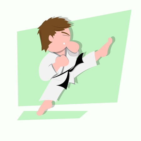 funny little kids do some karate kick Vector