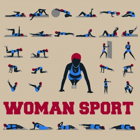 30 woman sport fitness Vector