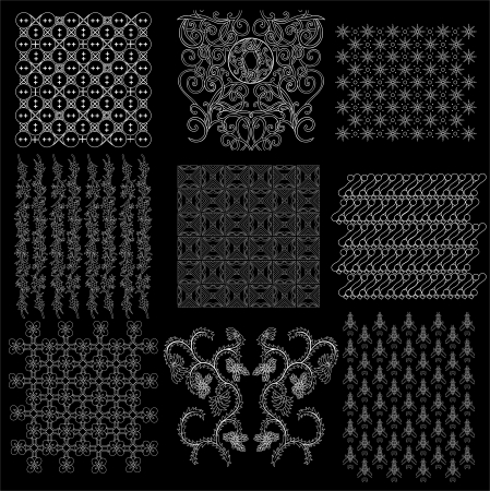complete collection set of Javanese pattern batik  Vector