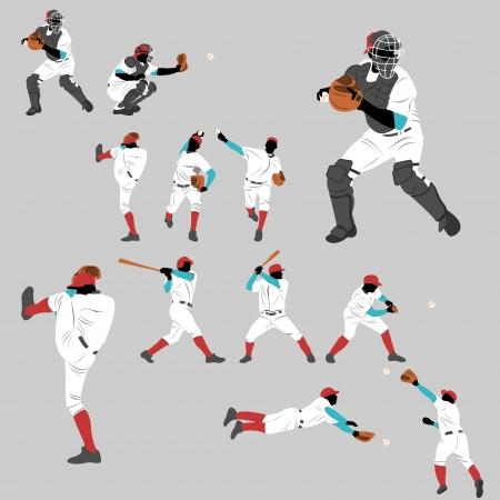 포즈와 위치 행동의 야구 액션 플레이 홈런을 많이