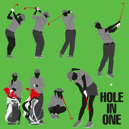 lots of golf style action collection Vector