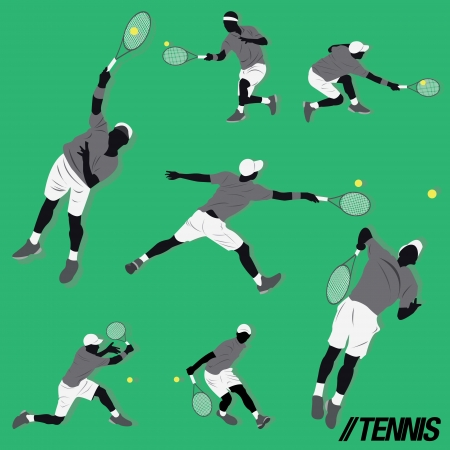 lots of tennis player do some action and hit the ball Illustration