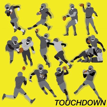 Touchdown del fútbol americano del estilo del super bowl con muchas acciones y la posición Foto de archivo - 19019463