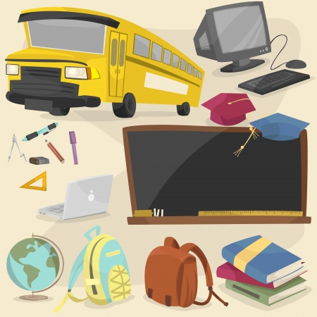 back to school item pack 1 Vector