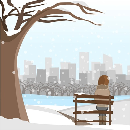 Girl sit on park winter edition Illustration