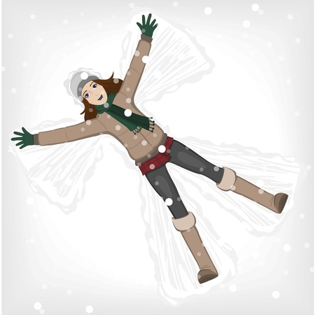 Snow angel girl Illustration