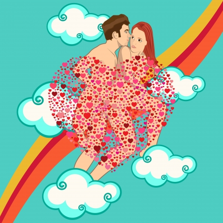 lovely couple on the sky of love Stock Vector - 19161987