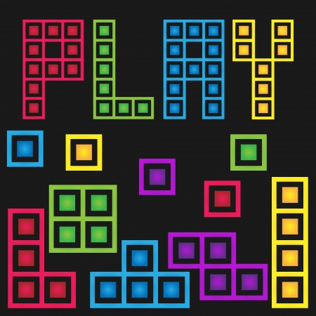 tetris: Game stock box with five color