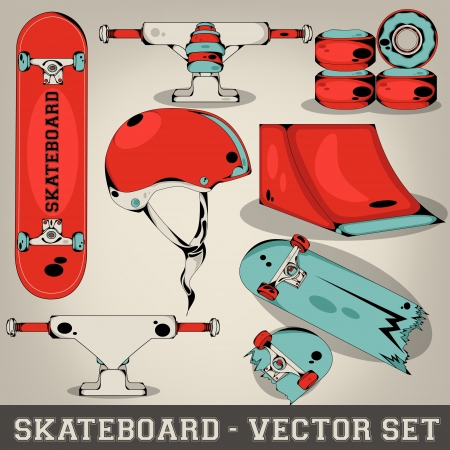 on ramp: Skateboard Vector Set Illustration