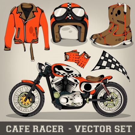 leather coat: Cafe Racer Vector Set Illustration