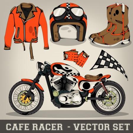 piston: Cafe Racer Vector Set Illustration