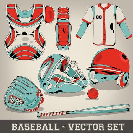 guante de beisbol: Baseball Vector Set Vectores