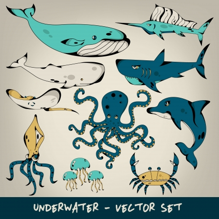 Underwater Vector Set Vector