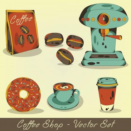 Coffee shop vector set Illustration