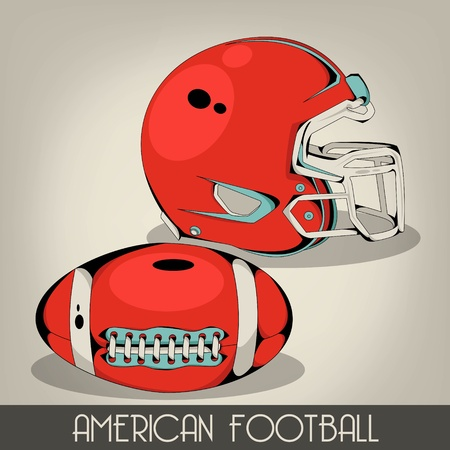 Red American Football Helmet Vector