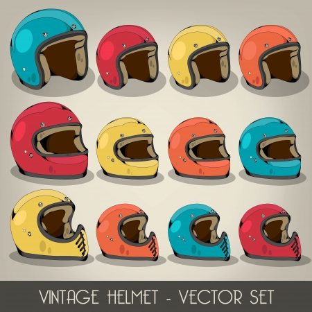 motorcycle helmet: Casco Vintage Set Vector