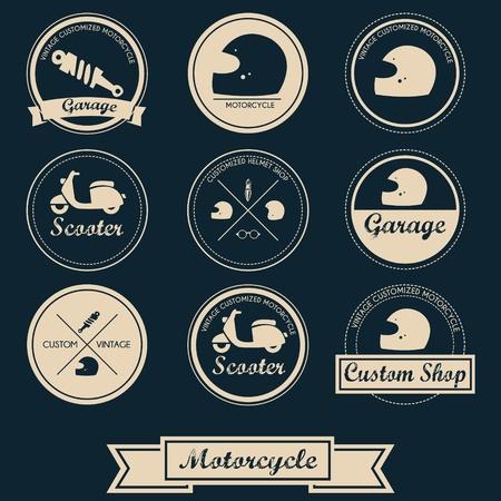 motorcycle repair shop: Vintage Motorcycle Label Design Illustration