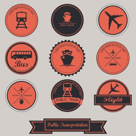 Public Transportation Label Design Vector