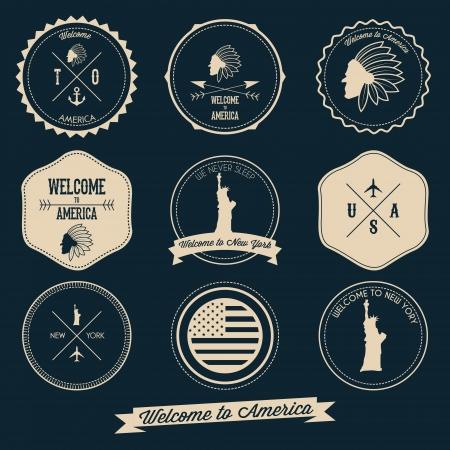 America Vintage Label Design Illustration