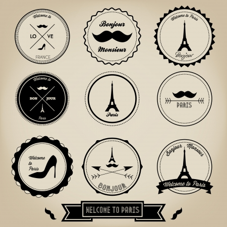 bonjour: Paris France Vintage Label Illustration